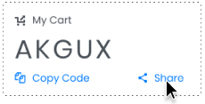 Share this code and your recipient will be able to load the contents of your cart!